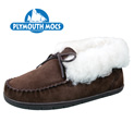 Plymouth Mocs Men's Dark Brown Leather Ankle Tie Slippers - 29.99