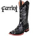 Ferrini Men's Black Patch Gator Ostrich Boots - 149.99