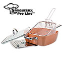 Savoureux Pro Ceramic Non-Stick 4- Piece Copper Pan Set  - 24.99