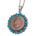 Indian Head Penny Pendant with Real Turquoise Beads - 39.99