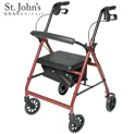 St John's Medical Premium Rolling Walker - Burgundy - 88.88