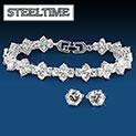 Steeltime White Gold Bracelet & Earring Set - 29.99