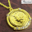 Gold-Layered Silver Mercury Dime Pendant - 29.99