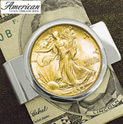 Silvertone Money clip with Silver Walking Liberty Half Dollar - 69.99
