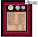 Framed U.S. Constitution With All 3 Bicentennial Coins - 49.99