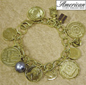 Gold-Layered Foreign Coins Charm Bracelet - 39.99