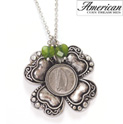 Irish Threepence Four Leaf Clover and Green Heart Charm Pendant - 24.99
