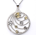 14k Yellow Gold and Sterling Silver Medallion Necklace - 159.99