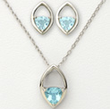 Blue Trillion Earrings and Necklace - 79.99