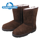 Plymouth Mocs Men's Dark Brown Leather Moccasin Boots