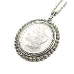 Morgan Dollar Pendant with Silvertone Bezel
