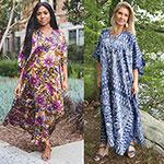 Winlar Women's Floral & Blue Caftans - 2 Pack
