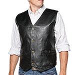 Black Patch Leather Vest