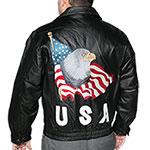 Leather World Men's USA Bomber Jacket