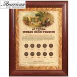 10 Years of Indian Head Pennies - Wood Frame