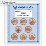 2009 P & D Lincoln Bicentennial Pennies Graded MS65