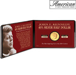 Silver JFK Half Dollar Coin Layered in Pure Gold