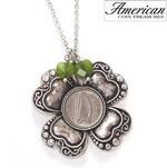 Irish Threepence Four Leaf Clover and Green Heart Charm Pendant