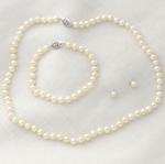 Sterling Silver Pearl Earrings/Bracelet/Necklace