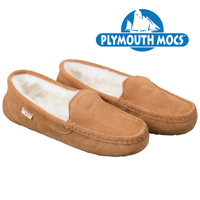 Plymouth Mocs Men's Chestnut Brown Leather Driving Moccasins