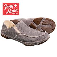 Tony Lama Men's Grey Canvas Slip-On Shoes