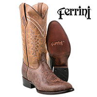 Ferrini Men's Chocolate Kangaroo R-Toe Boots