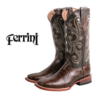 Ferrini Women's Chocolate Brown Gator Boots