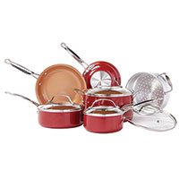 Red Copper 10 Piece Copper Cookware Set