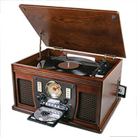 8-in-1 Bluetooth Turntable Entertainment System