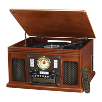 Innovative Technology Mahogany ITVS-760B 8-in-1 Bluetooth Entertainment System