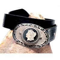 Black Enamel Morgan Silver Dollar Belt Buckle