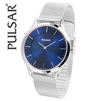 Pulsar Blue Dial 38mm Watch with Mesh Band