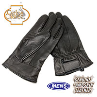 Mens Leather Insulated Gloves - Black