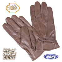 Mens Leather Insulated Gloves - Brown