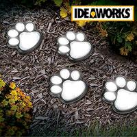 Ideaworks JB7356 Solar Paw Print Path Lights - 4 Pack
