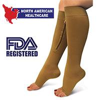 North American Healthcare Zip Compression Socks - 2 Pair