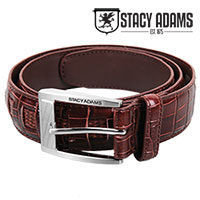 Stacy Adams Men's Burgundy Crocodile Belt