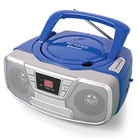 Impecca Blue Portable Bluetooth Boombox with CD Player