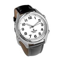 Men's Black Leather Talking Atomic Watch
