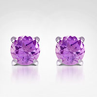 Jilco Purple Amethyst Stud Earrings