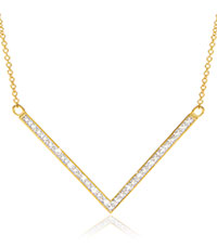 Jilco Gold Diamond V-Shaped Women's Necklace