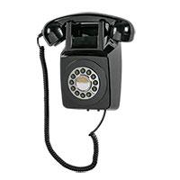 Retro Push-Button Black Wall Phone