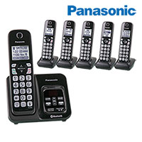 Panasonic 6- Handset Cordless Phones with Voice Assist