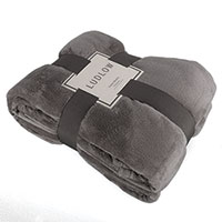 Luxurious Charcoal Polyester Velour Blanket