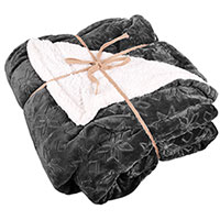 Northpoint Trading Grey Sherpa Snowflake Blanket