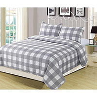 Gray Buffalo Plaid Quilt Set