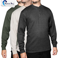 Marino Bay Men's Henley Shirts - 3 Pack