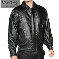 Vintage Leather Men's Black Bomber Jacket