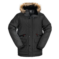 Truppa Men's Black Hooded Heavy Parka