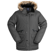 Truppa Men's Grey Hooded Heavy Parka